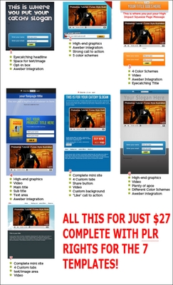 Product picture 7 Squeeze Style Facebook Fan Page Templates with PLR Rights